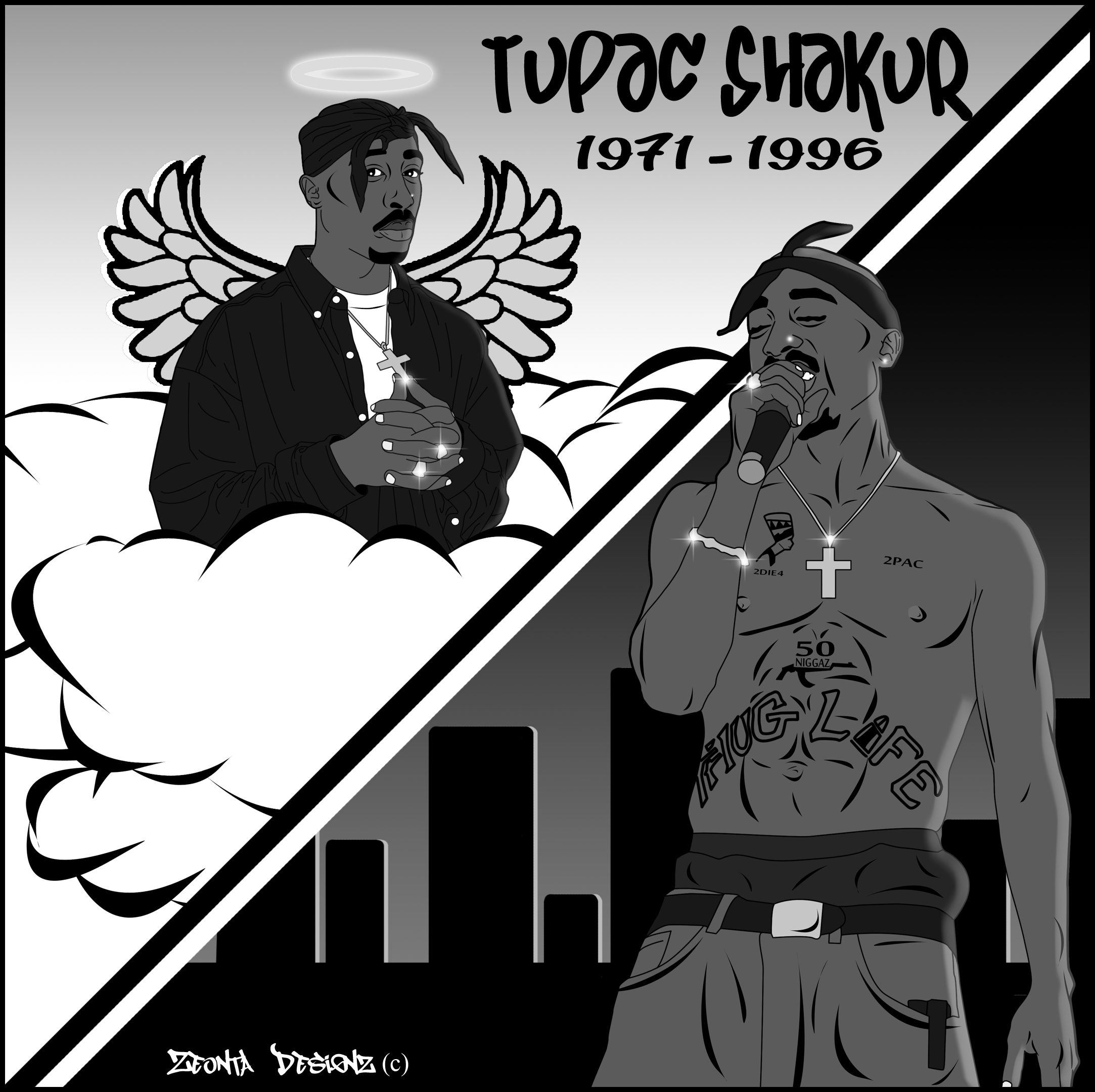 2pac Cartoon Graphic Design (No Color) By ZeontaSmith On