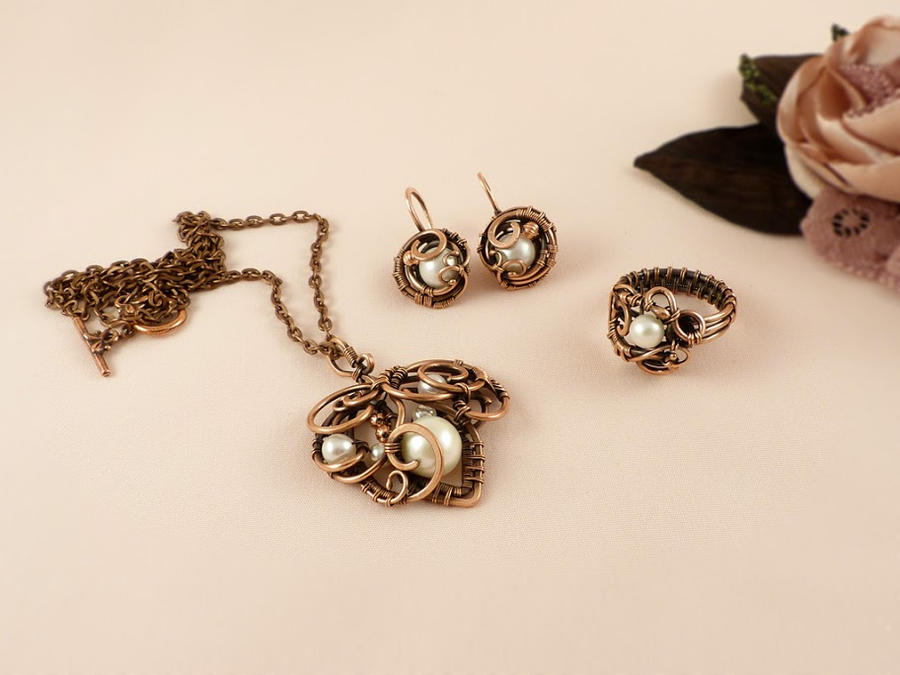 Set of copper and pearls by UrsulaOT
