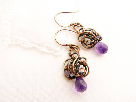 Wire earrings Grapes