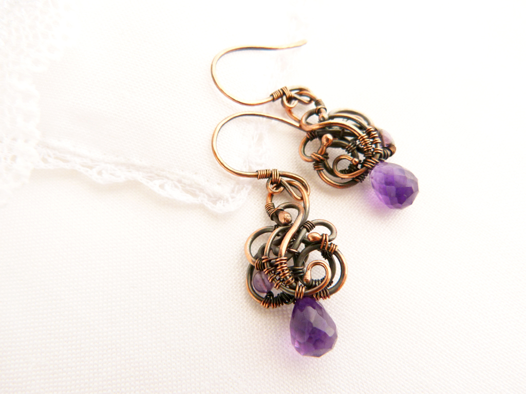 Wire earrings Grapes by UrsulaOT