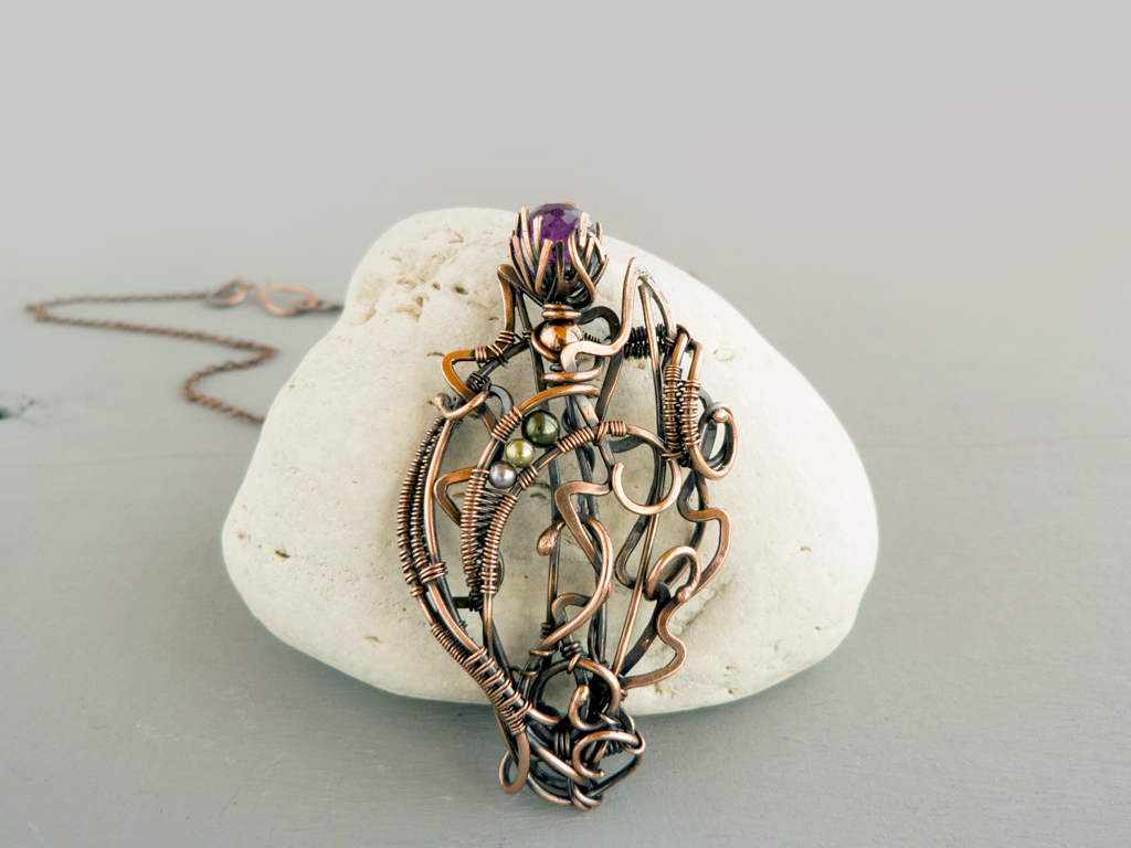 Thistle wire pendant by UrsulaOT