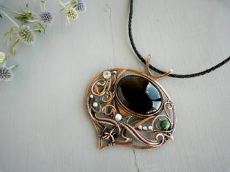 Stubborn Thistle flower - wire copper pendant by UrsulaJewelry