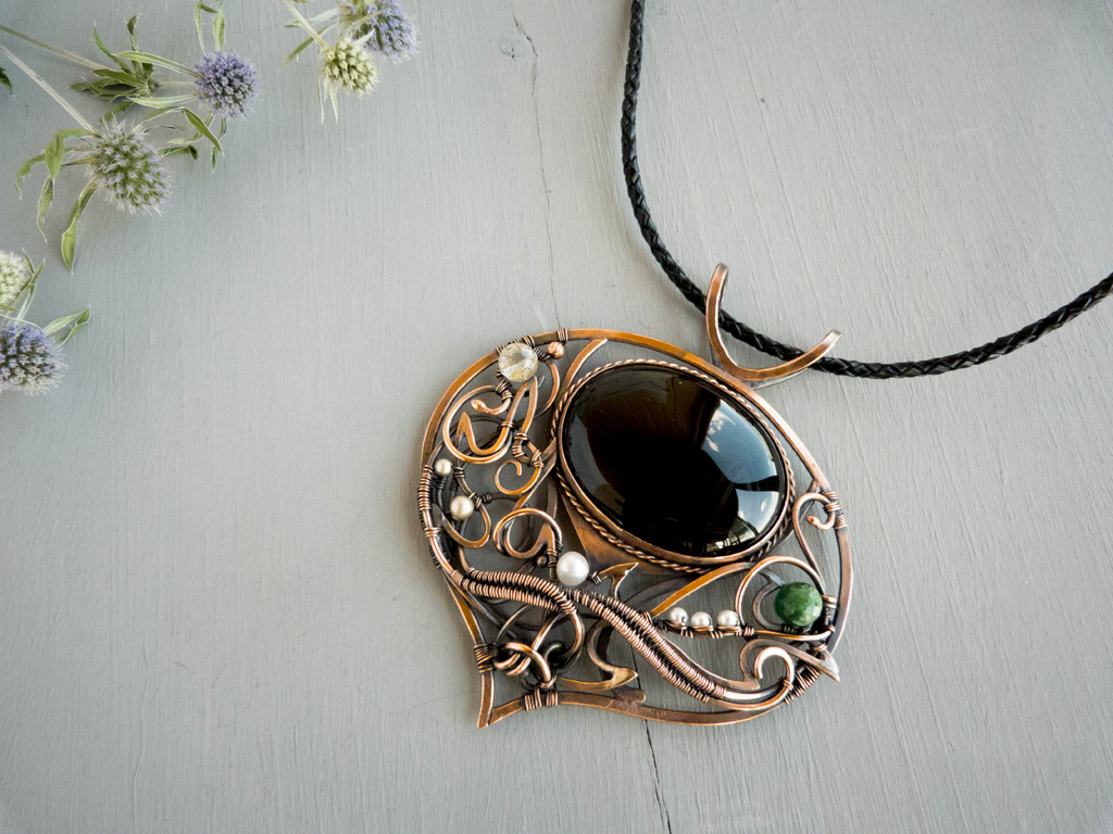 Stubborn Thistle flower - wire copper pendant by UrsulaJewelry on ...