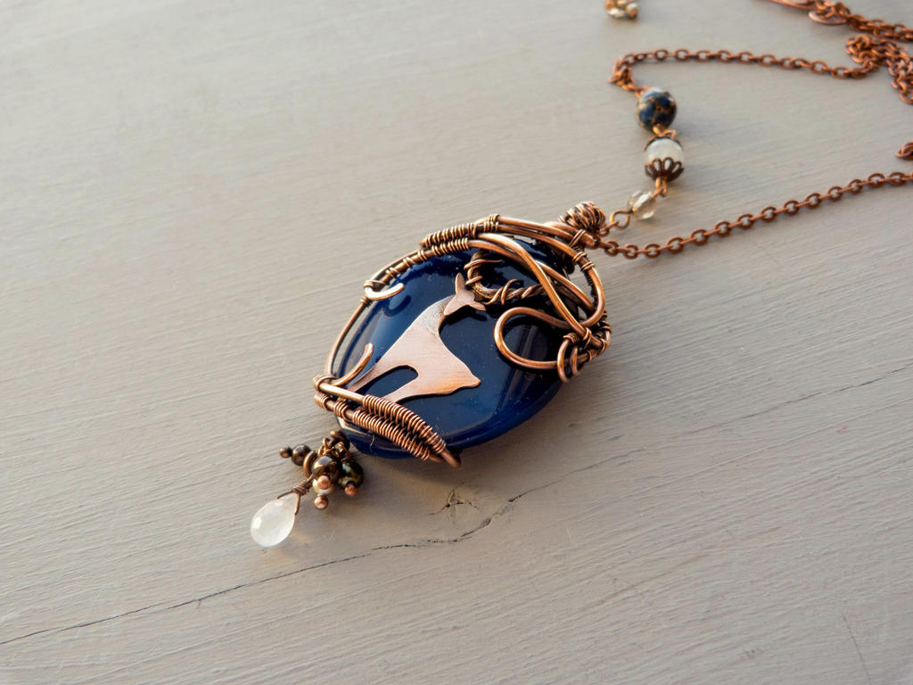 Deer  - copper agate pendant. by UrsulaOT