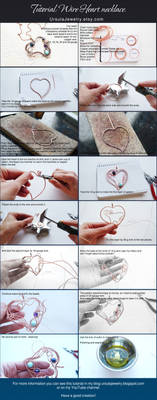 Wire wrapped Tutorial Heart necklace