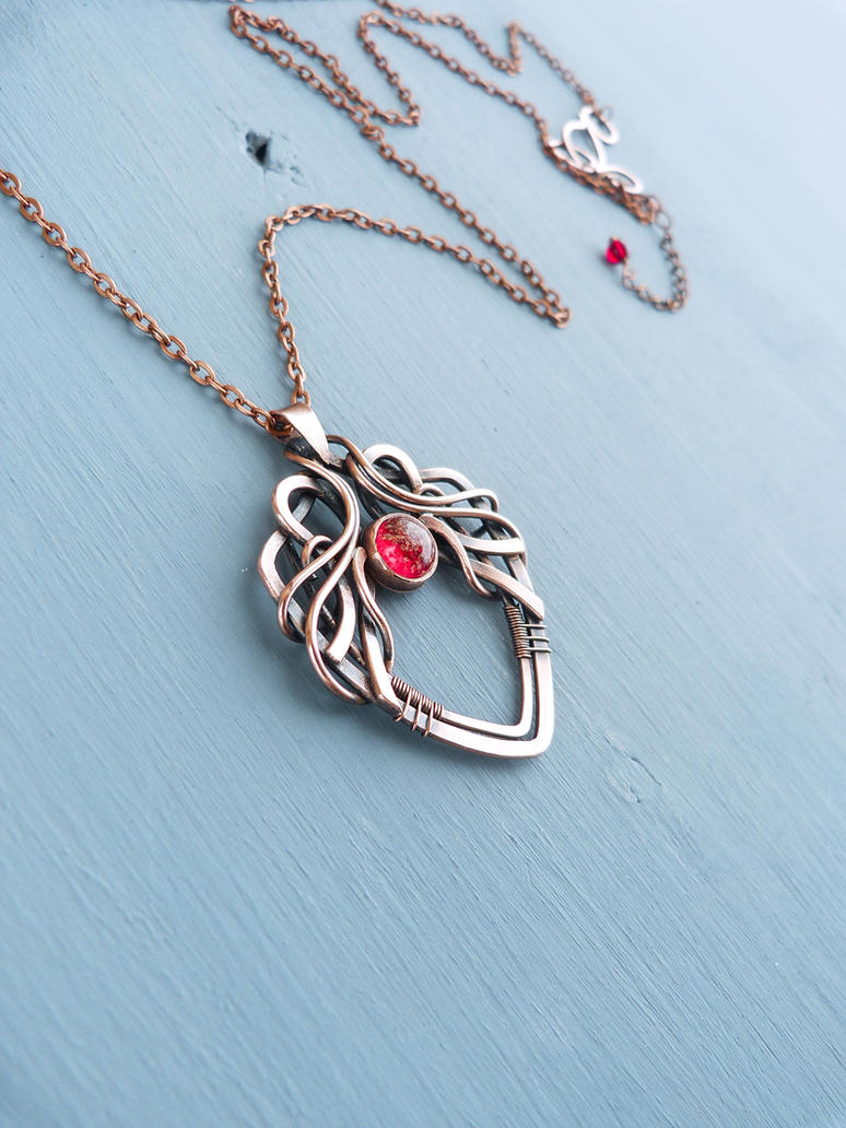Blood on the spear  - wire wrapped necklace by UrsulaJewelry