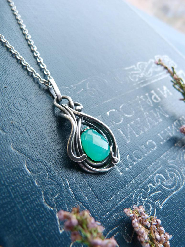 Green Chalcedony pendant by UrsulaJewelry
