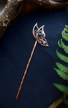 Hair pin Emerald Butterfly