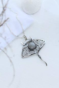 Manta Ray silver pendant