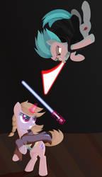 Pony duel.