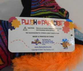 Rainbow Zebra plush TagB