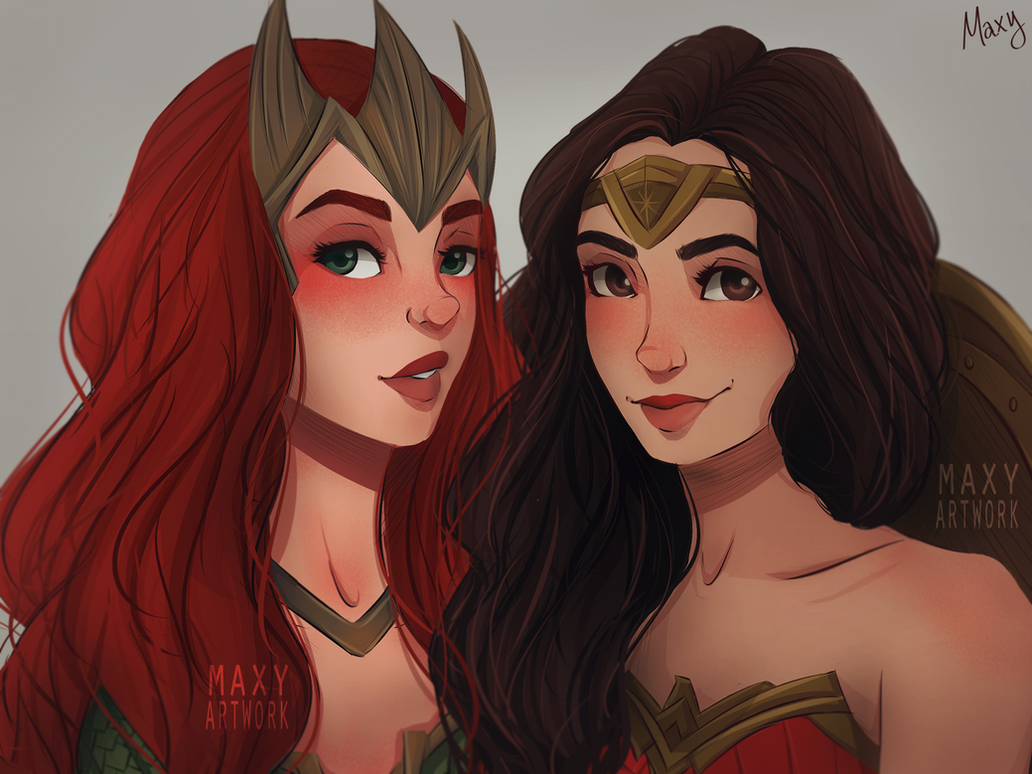 Queen Mera and Wonder Woman by maxyartwork
