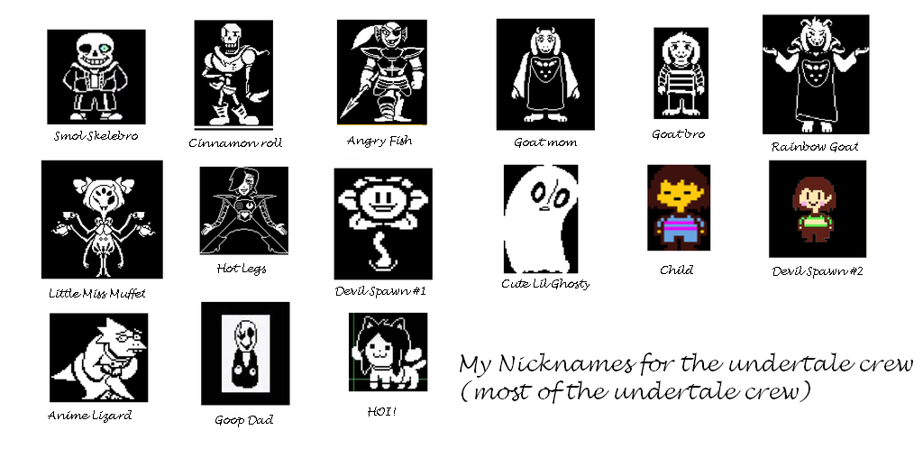 Undertale Character Nickname Meme By StarBellWing