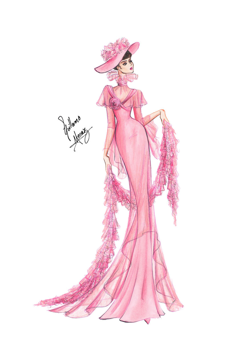 audrey hepburn in my fair lady pink gown by frozen