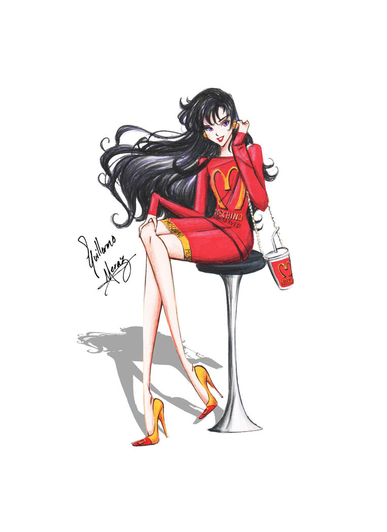 Sailor Mars in Moschino outfit by frozen-winter-prince