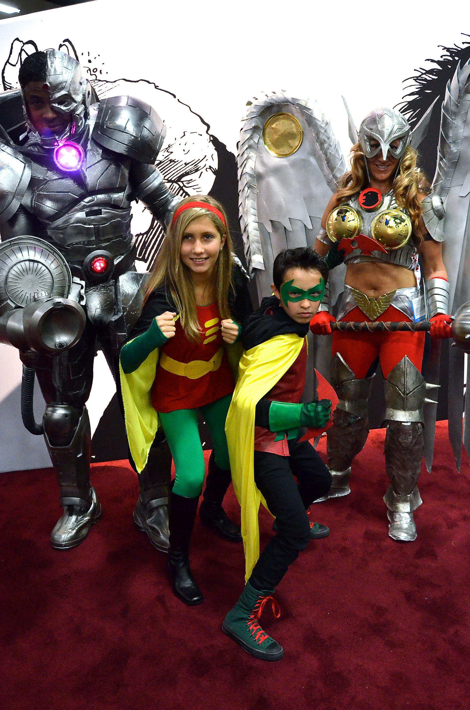 Cyborg, Hawkgirl and the Robins by FloresFabrications