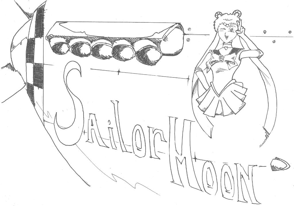 Sailor Moon nose art P-51 by quaid99