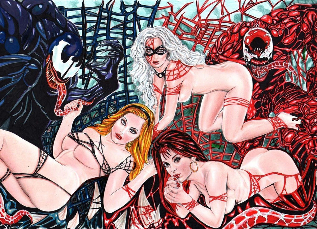 Venom Vs Canificina,Gwen,Blackcat,Mary Jane by Franklima