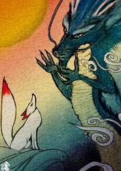 Dragon God and Inari(Fox)God by 4MIWO