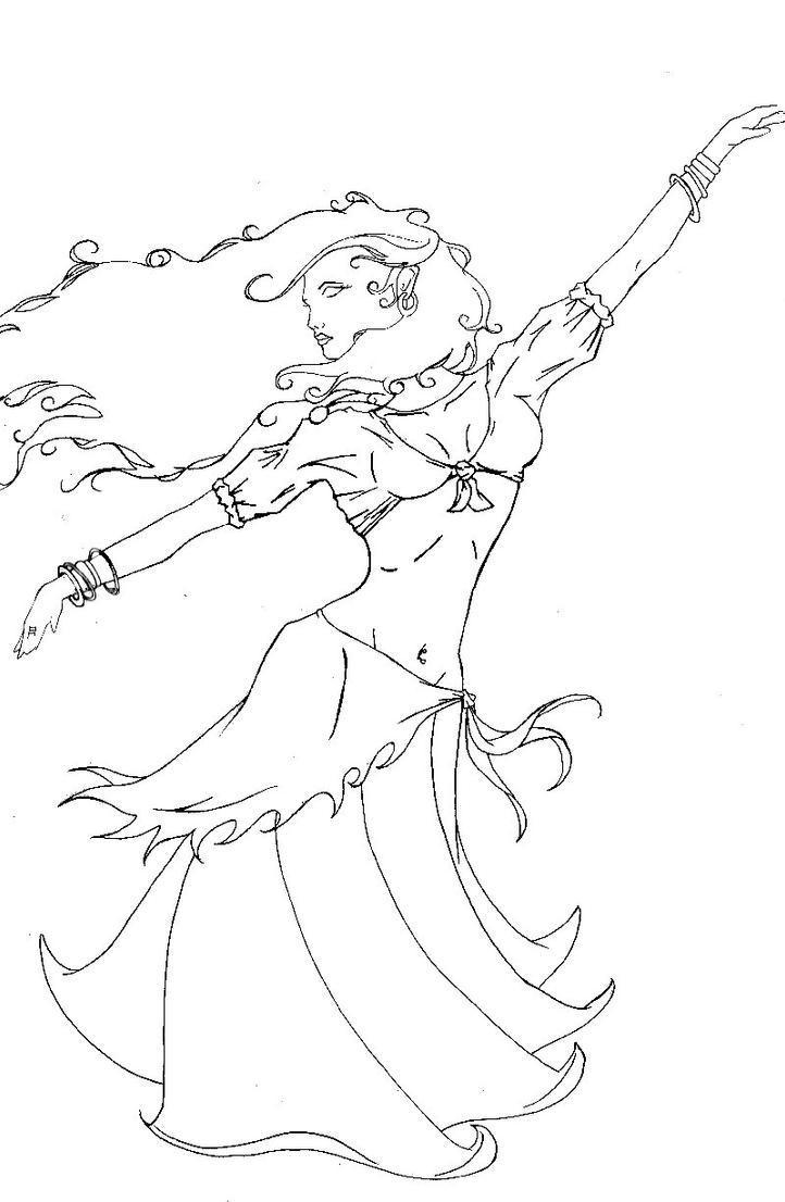 Line Drawing Dancer : Gypsy dancer line art by karnith on deviantart