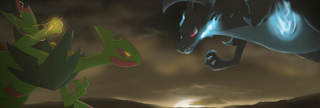 Pokemon Battle: Mega Sceptile VS Mega Charizard X by All0412