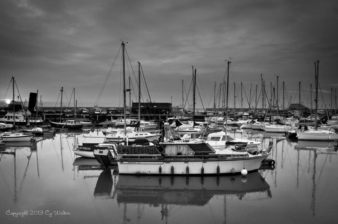 Ramsgate Marina Black and White by AstarothSquirrel