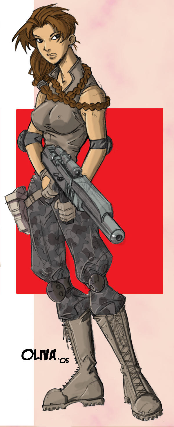 Military girl drawing