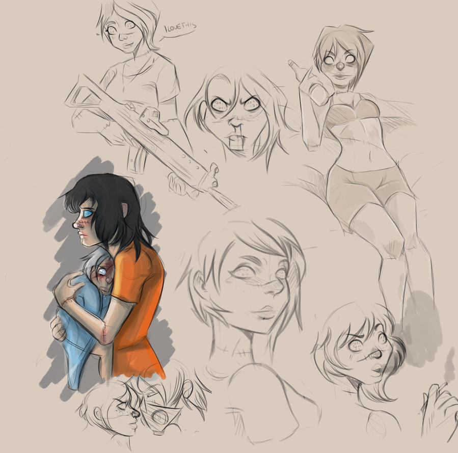 Mandy sketches by Creepymarty2