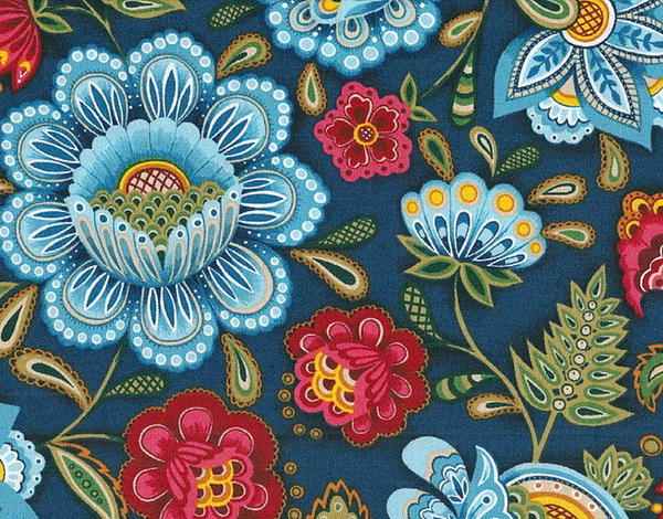 Vibrant blue multi large and small floral print by for Large print wallpaper