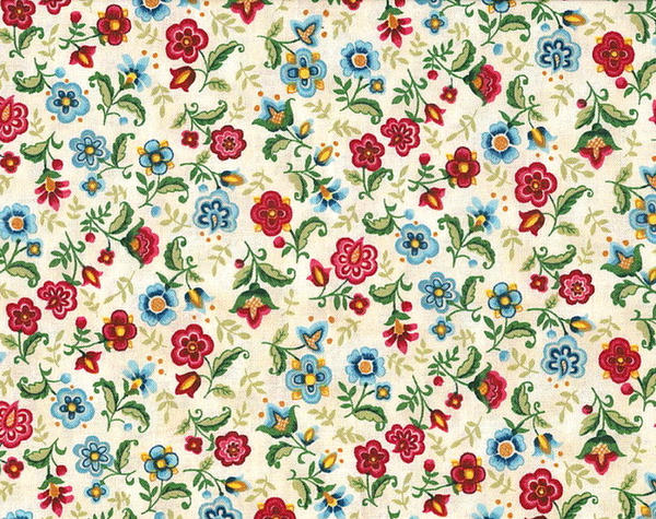 Vibrant Blue Multi Large And Small Floral Print By
