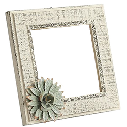 White Wash Frame w Flower PNG by Five5Cats