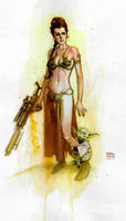 Princess Leia and Yoda by Andrew-Robinson