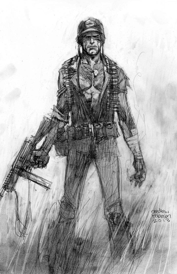 Sgt. Rock pencil commission by Andrew-Robinson