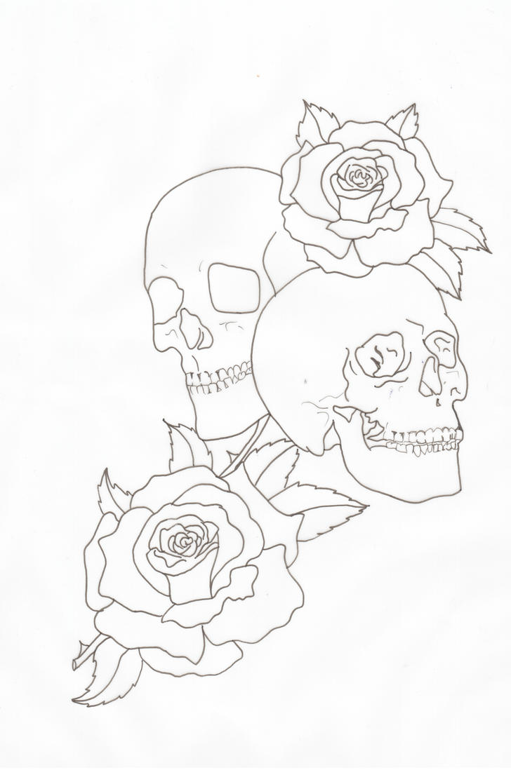 Red Flower Line Drawing : Skulls and roses outline by lou on deviantart