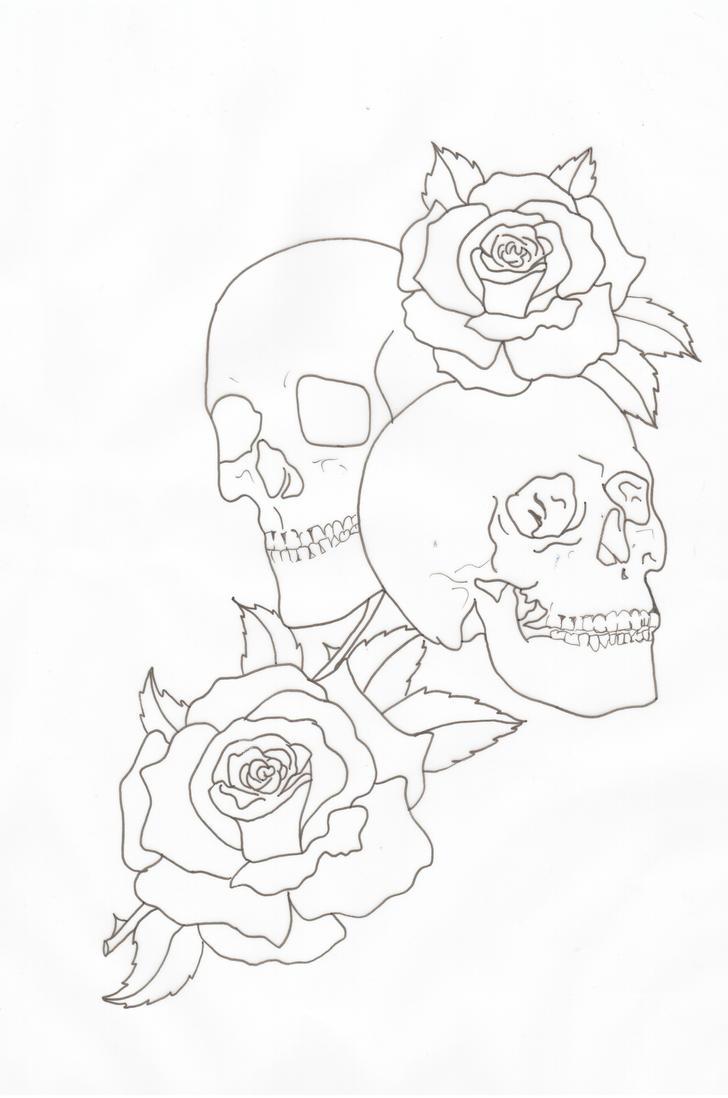 Skulls And Roses Outline By Lou987 On DeviantArt