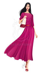 Fashion illustration: long Fendi dress by Ollustrator