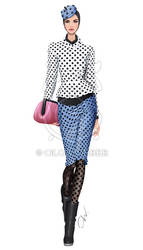 Fashion illustration: polka-dots by Ollustrator