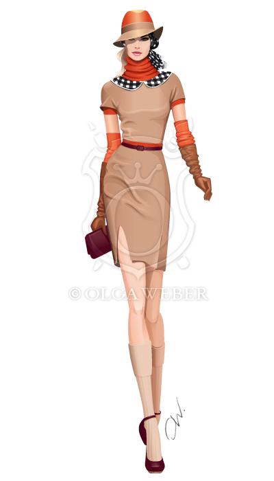 Fashion illustration: elegant city look by Ollustrator