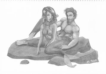 Mermaid and Lover by peace-choi