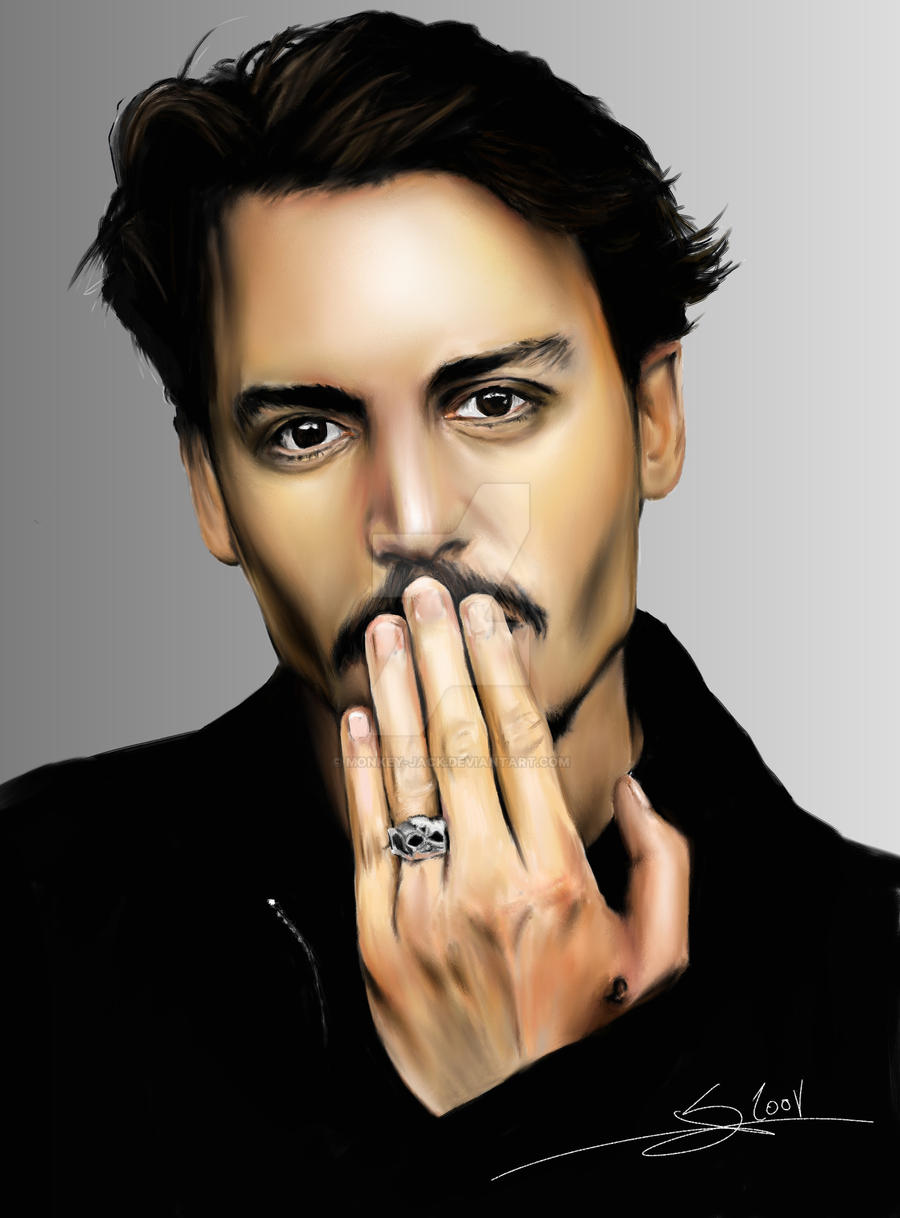 Johnny Depp digital portrait by Monkey-Jack