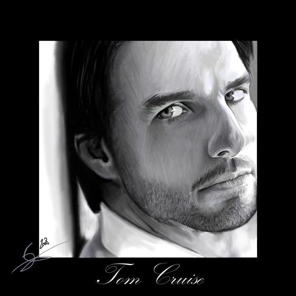 Tom Cruise digital portrait by Monkey-Jack