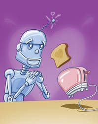 Robot loves toaster by Smaggers
