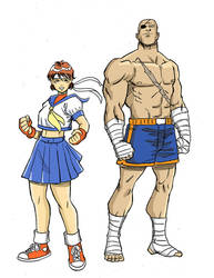 SF Sakura and Sagat studie af web cor