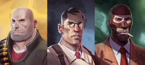 TF2 Heavy, Medic, Spy by Makkon