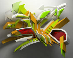 3d graffiti by anhpham88