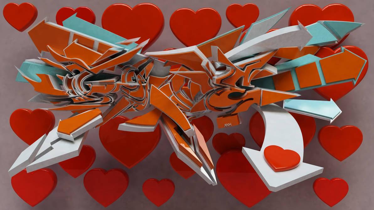3d graffiti love by anhpham88
