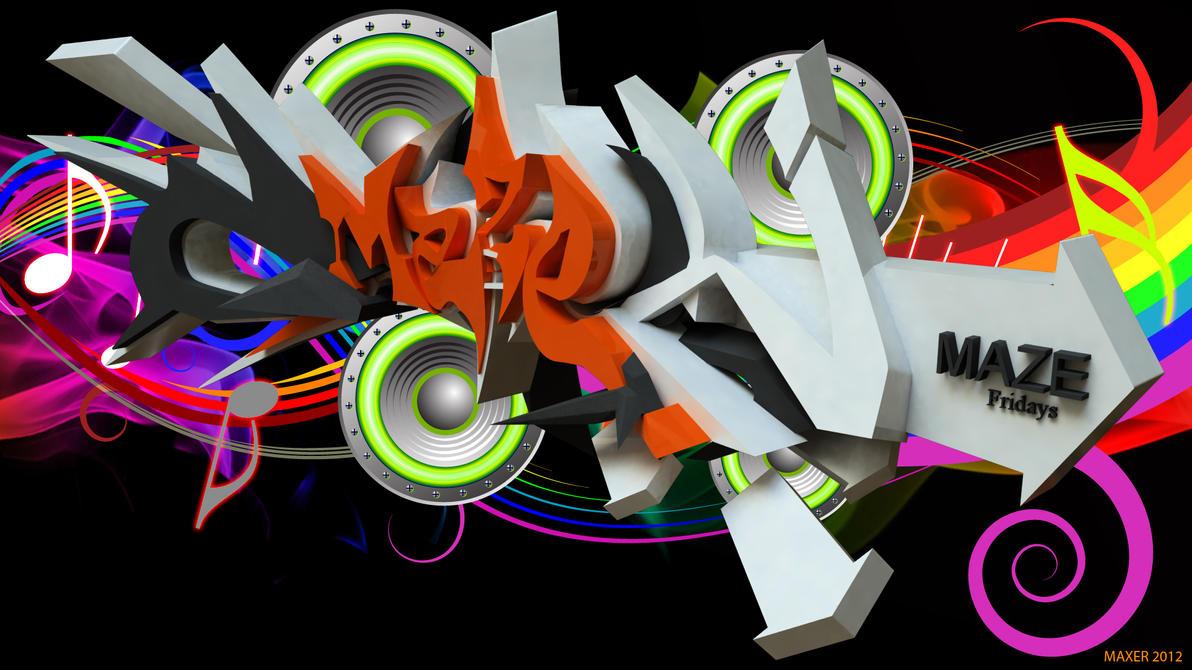 Maze 3D Graffiti Wallpaper Wide