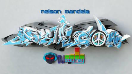 Nelson Mandela 3d graffiti by anhpham88