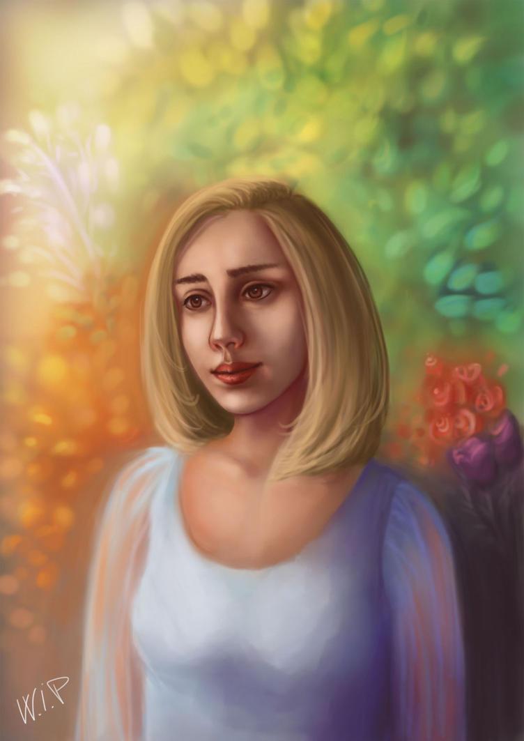 WIP Spring Portrait by la-Structure-du-Ciel