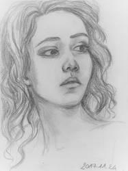 A pensive girl study
